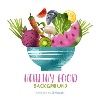 Akwarela tło owoców i warzyw