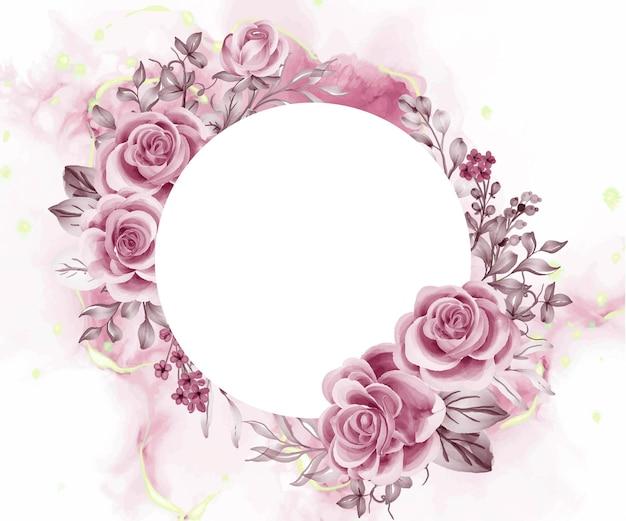 Akwarela tło różowe kwiaty i liście z białą przestrzenią okrągła