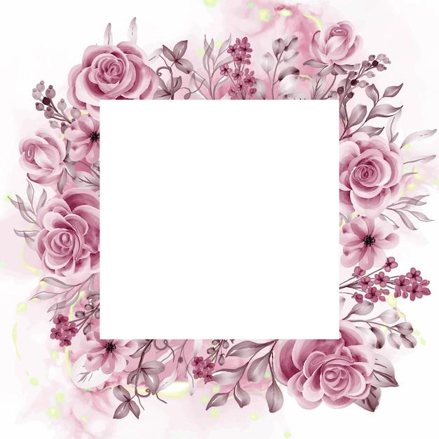 Akwarela tło różowe kwiaty i liście z białą spacją