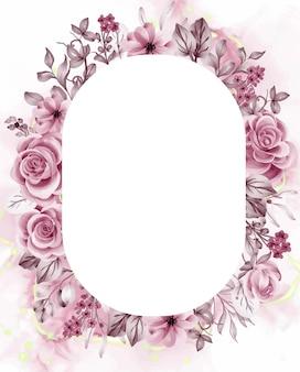 Akwarela Tło Różowe Kwiaty I Liście Z Białą Spacją Premium Wektorów