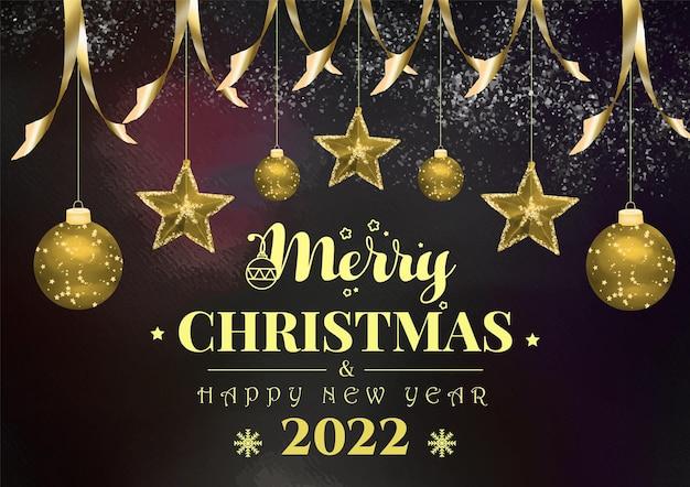 Akwarela tło tematu boże narodzenie i szczęśliwego nowego roku ze złotą piłką i gwiazdami