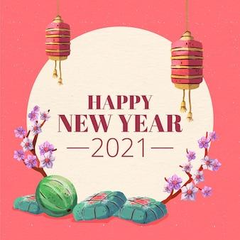 Akwarela tło têt (wietnamski nowy rok)