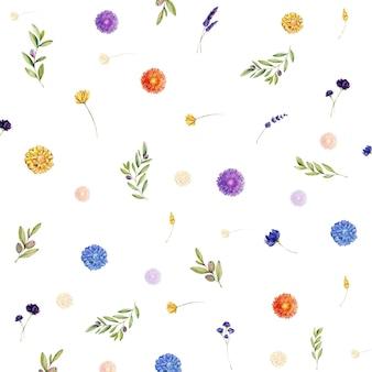 Akwarela tło z kwiatami i liśćmi