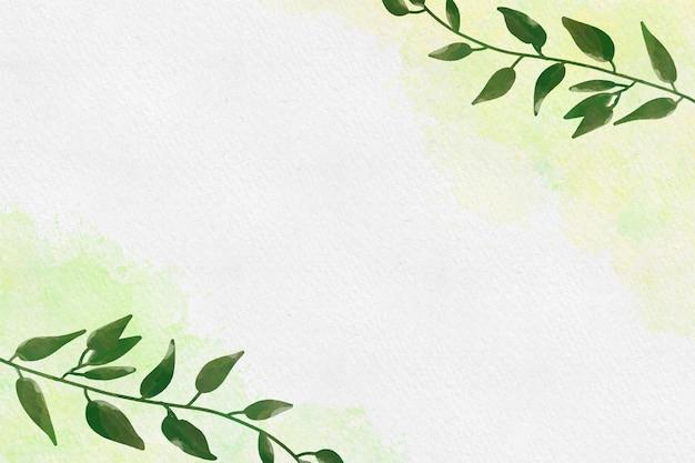 Akwarela tło z liśćmi