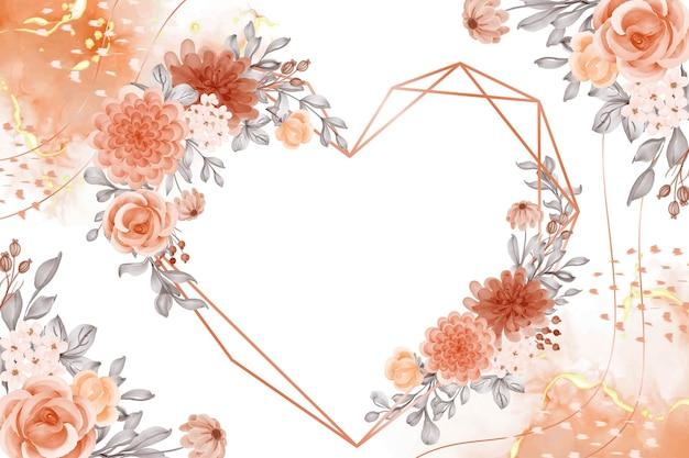 Akwarela tło z różanymi pomarańczowymi kwiatami i liśćmi miłość kształt geometrii