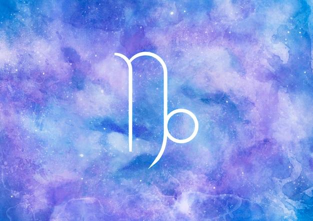 Akwarela tło ze znakiem zodiaku koziorożec