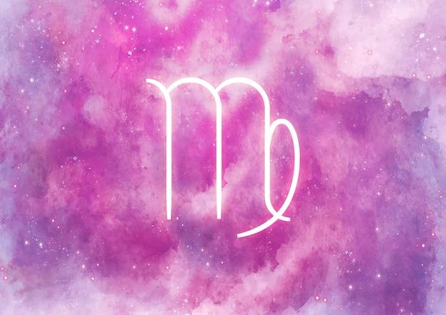 Akwarela tło ze znakiem zodiaku panna