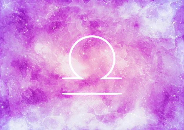Akwarela tło ze znakiem zodiaku waga