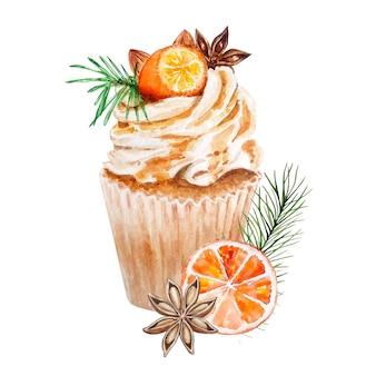 Akwarela tort świąteczny. ręcznie malowane na pomarańczowo i liście