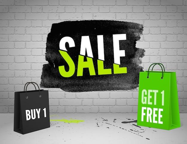 Akwarela transparent sprzedaż za pół ceny z plamami atramentu na tle grunge cegły