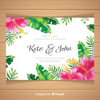 Akwarela tropikalna karta zaproszenie na ślub