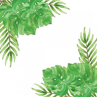 Akwarela tropikalne liście szablon granicy ramki