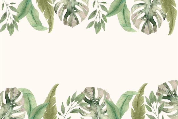 Akwarela tropikalne liście tło