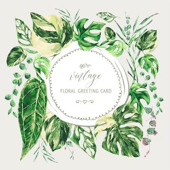 Akwarela tropikalne zielone liście. okrągła rama monstera pstrokata zieleń ilustracja, botaniczna kartka z życzeniami.
