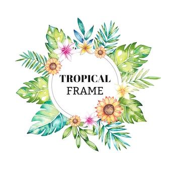 Akwarela tropikalny kwiatowy rama