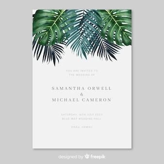 Akwarela tropikalny liść ślubny zaproszenie szablon