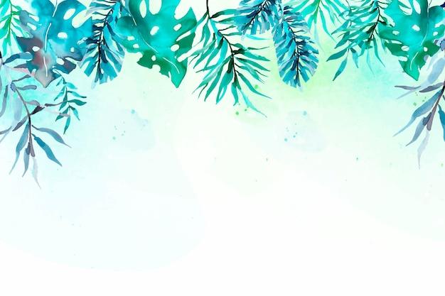 Akwarela tropikalny liści tło