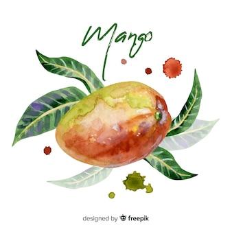 Akwarela tropikalny mango z liśćmi