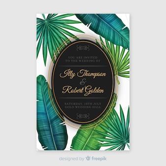 Akwarela tropikalny szablon zaproszenia ślubne