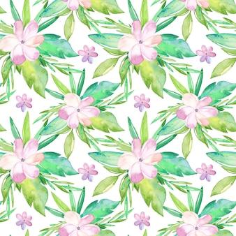 Akwarela tropikalny wzór z kwiatów i liści