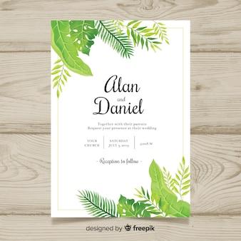 Akwarela tropikalny zaproszenie na ślub