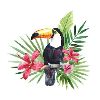 Akwarela tukan z tropikalnymi liśćmi palmowymi i kwiatami