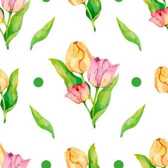 Akwarela tulipany wzór cyfrowy papierowy wzór z zielonymi kropkami