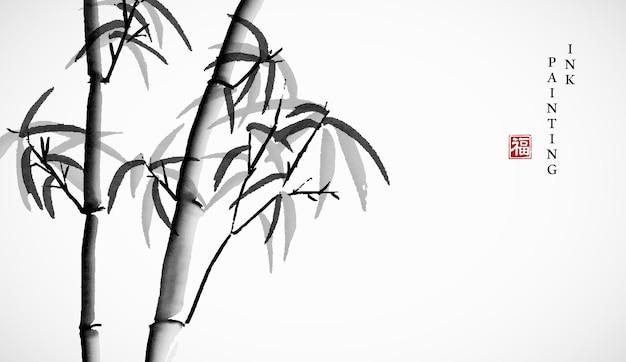 Akwarela tuszem farba ilustracja bambus tło