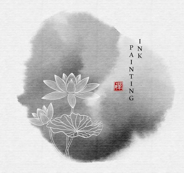 Akwarela tuszem farba ilustracja koło obrysu zen kwiat lotosu