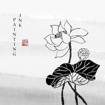 Akwarela tuszem farba ilustracja kwiat lotosu