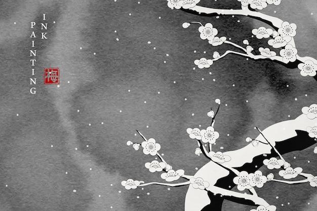 Akwarela tuszem farba ilustracja kwiat śliwki w śnieg zimowy dzień.