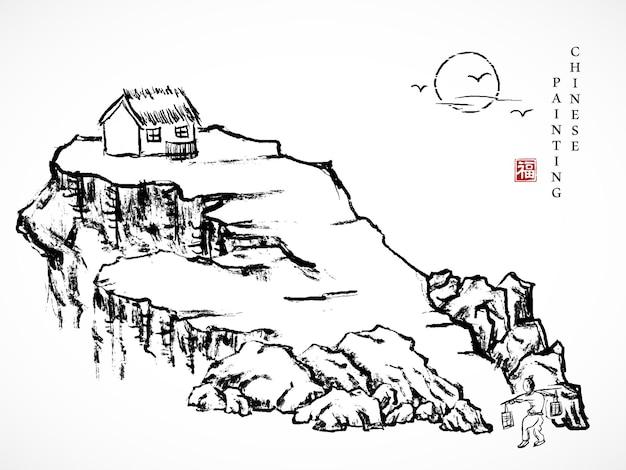 Akwarela tuszem farba sztuka tekstura ilustracja krajobraz człowieka niosącego drążek na ramię w drodze powrotnej do domu, na skalnym wzgórzu.