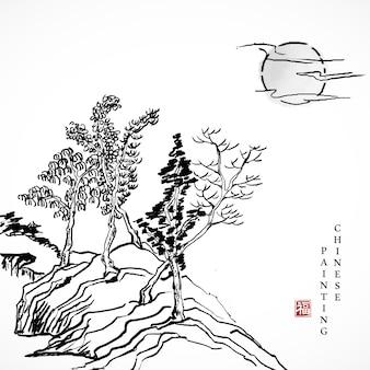 Akwarela tuszem farba sztuka tekstura ilustracja krajobraz drzewa i słońca.