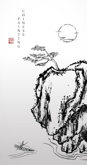 Akwarela tuszem farba sztuka tekstura ilustracja krajobraz sosny na kamiennym klifie i ludzie na łodzi.