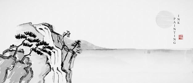 Akwarela tuszem farba sztuka tekstura ilustracja krajobraz widok sosny na skale i morze.