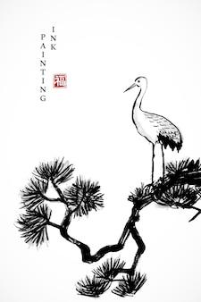 Akwarela tuszem farby ilustracja sosna i ptak żurawia