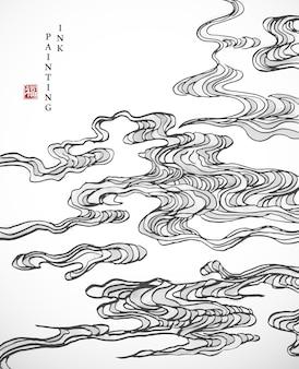 Akwarela tuszem farby sztuka tekstura ilustracja orientalna spiralna krzywa chmura tło.