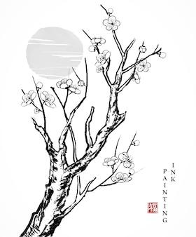 Akwarela tuszem farby sztuka tekstura ilustracja stary kwiat wiśni gałąź drzewa i zachód słońca.
