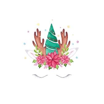 Akwarela twarz jednorożca boże narodzenie. akwarela kreskówka głowa jednorożca renifera z choinką, kwiatem poinsecji, koroną ostrokrzewu i porożem.