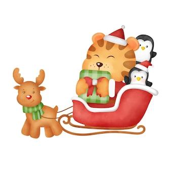 Akwarela tygrysa kartka świąteczna