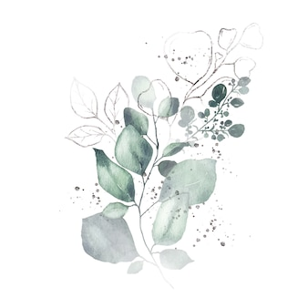 Akwarela układ z zielonych liści bukiet srebrnych ziół na białym tle