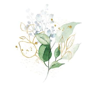 Akwarela układ z zielonych liści bukiet złotych ziół