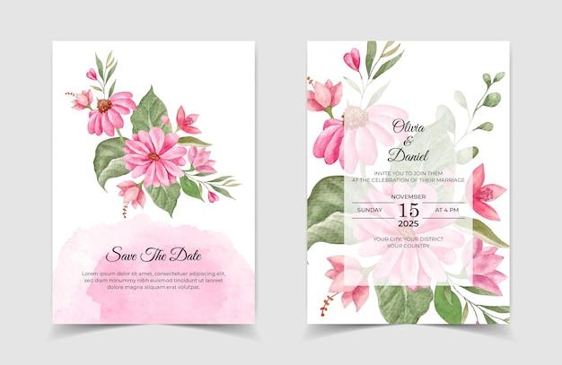 Akwarela urocza karta zaproszenie na ślub