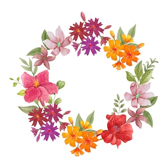 Akwarela urocza kolorowa wiosenna kwiecista ramka