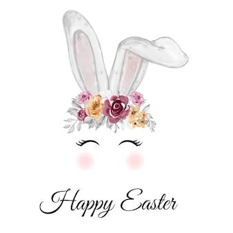 Akwarela uszy królika wielkanocnego z koroną kwiatów