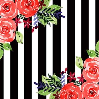 Akwarela valentine czarny pasek kwiatowy tło