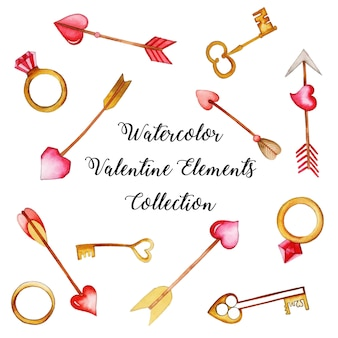 Akwarela valentine elements collection