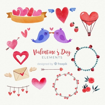 Akwarela valentine elementy opakowanie