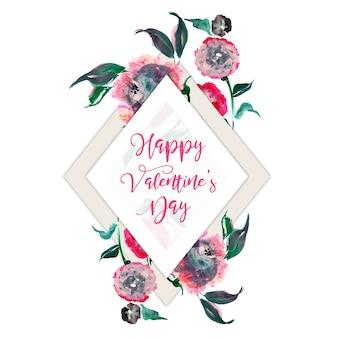 Akwarela valentine kwiatowy ramki