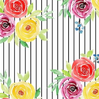 Akwarela valentine kwiatowy tło z paskami
